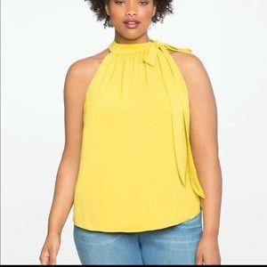 Eloquii VIV mustard yellow neck tie blouse